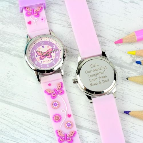 Kid's Pink Butterfly Watch with Presentation Box